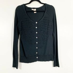 DKNY Black Long Sleeved Button Front Cardigan Sz M